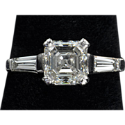 SALE 2.26 Carat Asscher Diamond Engagement Ring / GIA 2.01 Center / CLEARANCE SALE!!!