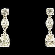 SALE 3.61 Carat Diamond Dangle Earrings