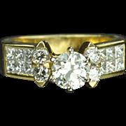 SALE 1.65 Carat Old European Cut Diamond Engagement Ring / .85 Carat Center