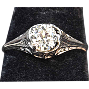 SALE .60 Carat Old European Cut Diamond Engagement Ring