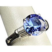 SALE 3.38 Tanzanite and Diamond Ring