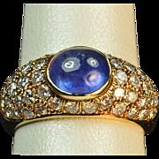 SALE 2.5 Carat Sapphire and Diamond Ring