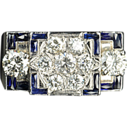 SALE 3 Carat Diamond and Sapphire Men's Ring