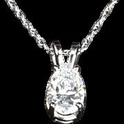 SALE .70 Pear Shaped Diamond Pendant / Necklace