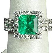 SALE 5.18 Carat Brazilian Emerald and Diamond Ring / AGL Certified