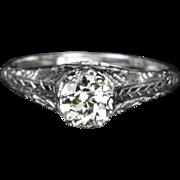 SALE .85 Carat Old European Cut Diamond Engagement Ring