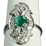1.41 Emerald and Diamond Vintage Ring