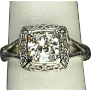 SALE 1.10 Carat Old European Cut Diamond Wedding / Engagement Ring