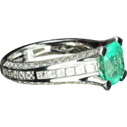 SALE 3.67 Carat Emerald and Diamond Ring