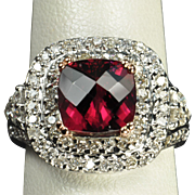 SALE 3.5 Carat Diamond and Rubellite Tourmaline Ring