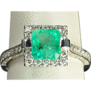 SALE 2.26 Carat Emerald and Diamond Ring