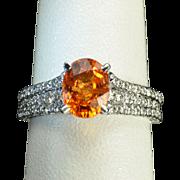 SALE 2.82 Carat Mandarin Orange Garnet and Diamond Ring
