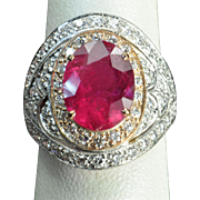 SALE 5.06 Carat Rubellite Tourmaline and Diamond Ring