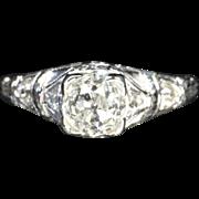 SALE 1.48 Carat Edwardian Old Mine Cut Engagement Ring / 1.28 Carat Center / EGL ...