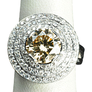 SALE 4.39 Carat Fancy Yellow/Brown Diamond Ring / 3.22 Carat Center