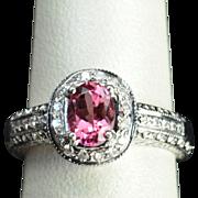 SALE 1.25 Carat Pink Tourmaline and Diamond Ring