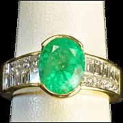 SALE 3.45 Carat Emerald and Diamond Ring