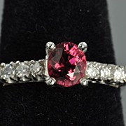 Pink Tourmaline and Diamond Ring Set in Platinum