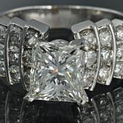 SALE 2.75 Carat Princess  Cut  Diamond Engagement / Wedding  Ring / 2.02 Carat Center