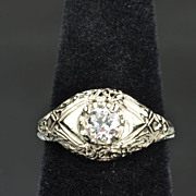 SALE .45 Carat Old European Cut Diamond Wedding/Engagement Ring