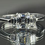 SALE 1.41 Carat Emerald Cut Diamond Engagement Ring / GIA Certified