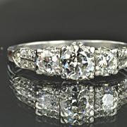 SALE 1.5 Carat Old European Cut Diamond Ring / .70 Carat Center