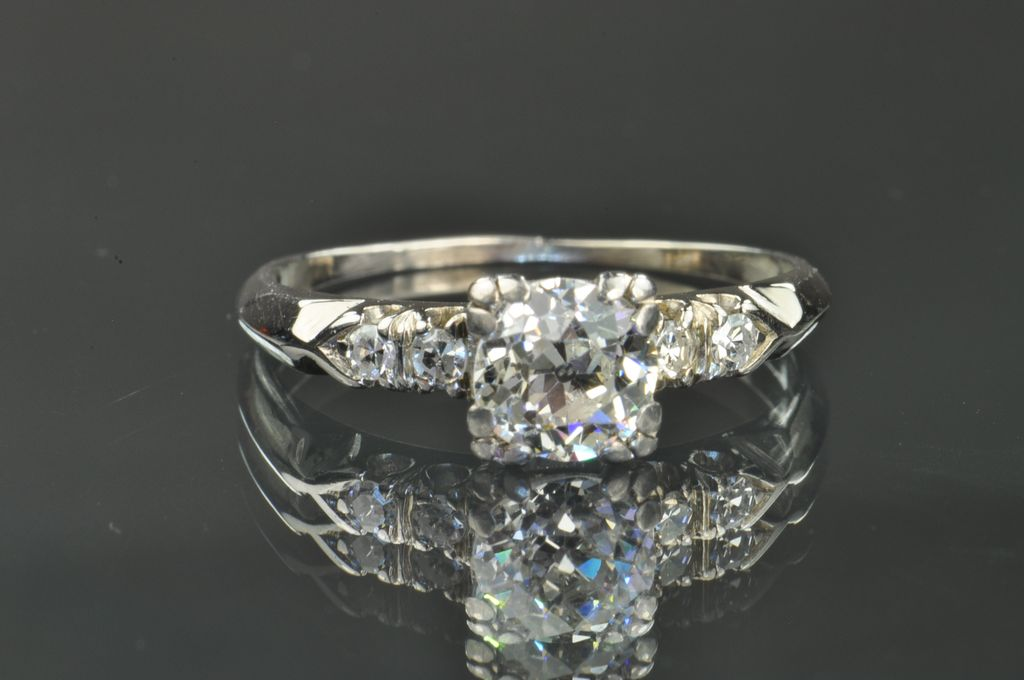 70 Carat Old Mine Cut Diamond Solitaire Engagement Ring