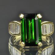 SALE 8.80 Carat Diamond and Green Tourmaline Ring / CLEARANCE SALE!!