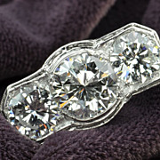 SALE 4.43 Carat 3 Stone Diamond Engagement / Wedding Ring