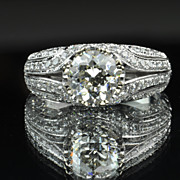 SALE 2.01 Carat Old European Cut Diamond Ring / 1.41 Center / Clearance Priced!!