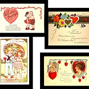 SALE Four Very Cute Vintage Valentine Postcards, Marked 50% Off