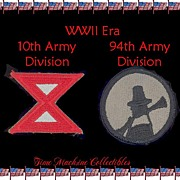 SALE WWII Era 10th & 94th Army Division Patches, Marked 50% Off