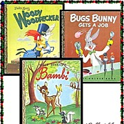SALE Bugs Bunny, Woody Woodpecker & Bambi First Edition Little Golden Books, Marked 50% Off