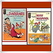 SOLD 1965 Flintstones Comic, No. 26, & 1962 Woody Woodpecker Adventure Comic, No. 74, Big 80 P