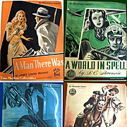 Four 1941-42 Philadelphia Inquirer Sunday Novels--A World In Spell, The Navy Colt, Wild Harves