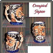 SALE Large Occupied Winking Gentleman Toby Mug with Squirrel Handle, Marked 50% Off