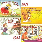 SALE 1940's--Two Connect The Dots & Two Trace and Color Books, Marked Over 50% Off