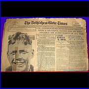 """SALE 1927 """"America Welcomes Charles Lindberg Home"""", June 11, 1927, Bethlehem Globe T"""