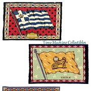 SALE 1900's Tobacco Felt Flags of Greece, Cuba and China, Marked Over 50% Off