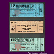 SALE 1952 Garry Moore, 1952 Perry Como, and 1961 Jack Paar Show Tickets, Marked Over 50% Off
