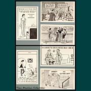 Six 1930's/1940's Comic Risqué Postcards