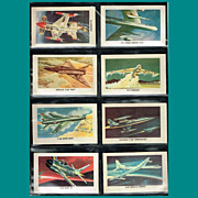 Eight 1959 Red Sicle Ball Aircraft Trading Cards, Set Three