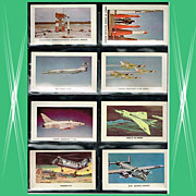 Eight 1959 Red Sicle Ball Aircraft Trading Cards, Set Four