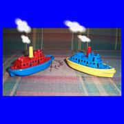 Two Colorful Renwal Plastic Tugboats