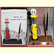SALE Oldsmobile Service Desk Set Miniature Visible Gas Pump and Service Globe
