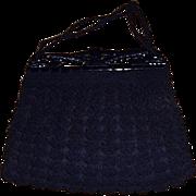 1930's-40's Navy Blue Crocheted Handbag with Plastic or Bakelite Opening