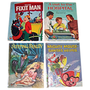 Four 1950's Children's Wonder Books Mighty Mouse-Santa's Helper, Sleeping Beauty, Fixit Ma