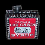 SALE 1979 Vintage Towle's Log Cabin Syrup Metal Tin Bank