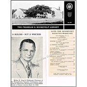 1943 Franklin D. Roosevelt Library Souvenir Booklet, Pamphlet, & 1940 Democratic Primary Voter