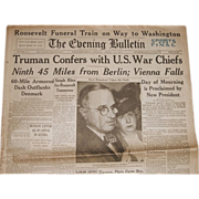 Newspaper Printed Day after President Roosevelt Died, April 13th, 1945